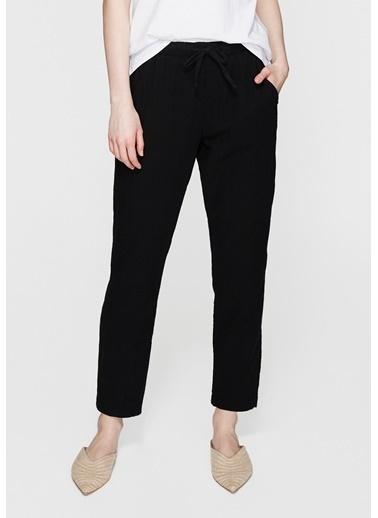 Mavi Beli Lastikli Pantolon Siyah